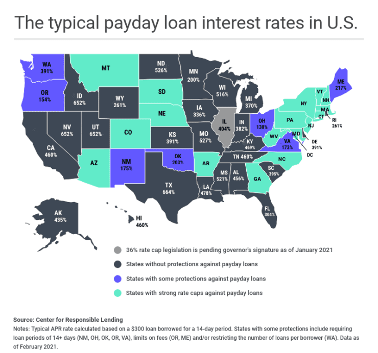 APR for payday loans by states
